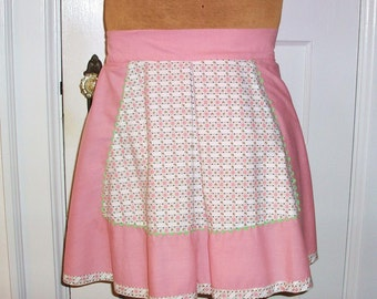 Vintage Pink White Apron with Pockets Short Hostess Hipster Housewife Apron Mint Green Rick Rack