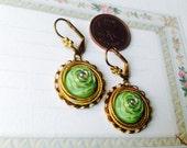 West Germany Earrings, Pierced, Post Earrings, NBW, Brass Vintage Earrings