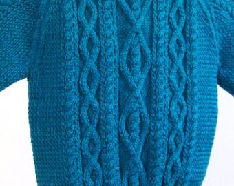 Child's sweater, Child's hand knit sweater, fisherman cables sweater, child's aran sweater, Blue Sweater, Boys Sweater, Girls Sweater