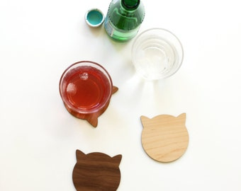 Cat Coasters - Multicolored Wood Coasters Set - Great Cat Lover Birthday Gift