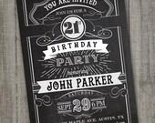Vintage Retro Birthday Invitation, PRINTABLE Chalkboard Birthday Invitation, 21st Birthday , 18th Birthday, 50th Birthday, Male Birthday