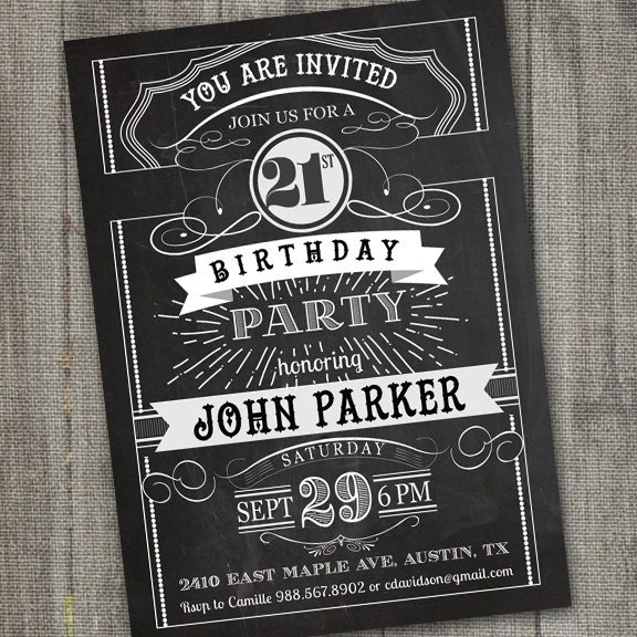 Vintage Retro Birthday Invitation PRINTABLE Chalkboard - 21st birthday invitations pinterest