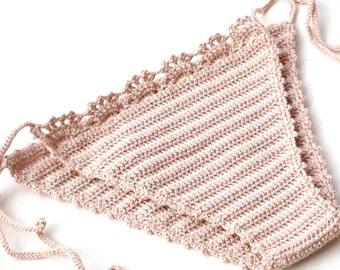 Powder Pink Crochet Bikini Bottom Women Swimwear Swimsuit 2016 Summer Beach Wear Brazilian Bikini Bathingsuit senoaccessory