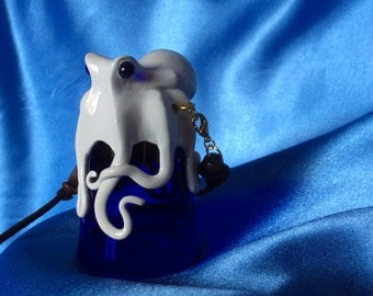 The Cobalt Kraken Shot, Octopus Sculpture on 1 oz Glass Shooter, with real Gold inlay and removable Beaded Leather Lanyard, by Elstwhen.