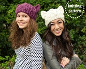 Cat Hat Knitting Pattern, Cat Hat Pattern, Cat Hat Adult, Chunky Cable Knits, Knitting Patterns for Women, Cat Ears Ariana Grande, Cosplay