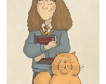 Hermione Granger and Crookshanks -  Harry Potter Art - Harry Potter Prints - Harry Potter Decor -  Illustration Print