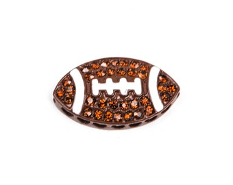 1 BROWN FOOTBALL Rhinestone Bright Silver and Enamel Sideways Connector Charm  25mm  chs1768