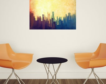 Mixed Media Urban Art Decal- Cloud City by DejaReve