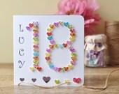 18th Birthday Card, Handmade Age 18 Card - Personalised Happy Birthday, Eighteen 3D Card Son, Daughter, Boy, Girl, Male, Female BHA18