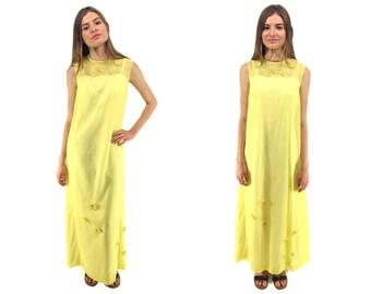 Vintage 60s Tent Maxi Dress, Daisy Dress, 60s Caftan Dress, Hippie Dress, Oversized Boho Dress, Bohemian, Daisy Fields Dress Δ size: xs / sm