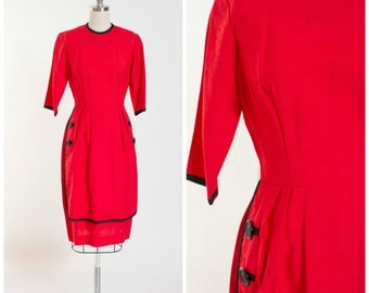 1950s Vintage Dress • Sassed Moves • Red Rayon Vintage 50s Sheath Dress Size Small