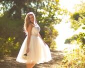 Short Tulle Wedding Dress, Vintage Inspired, 50s Style, Strapless Illusion Neckline, Full Tulle Skirt, Open Back - Available in Plus Size