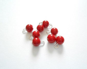 Red Opaque Dangle Beads