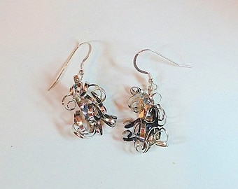 Sterling Silver Dangle Earrings: Curls of Silver