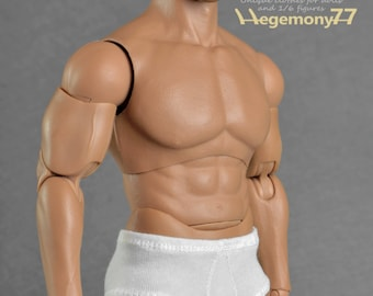 1/6th scale XXL white men's underwear for: Hot Toys TTM 20 size bigger / larger action figures and male fashion dolls