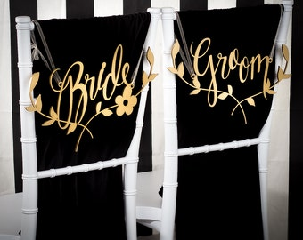 Wedding Chair Signs Decoration - Bride and Groom Chairs Signs - floral branch - Joyful