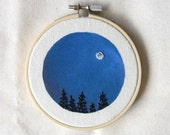 SALE Full Moon in Navy Night Sky, Mini Embroidery Art, Home Decor