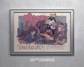 A MAD MAD LOVE - Joker & Harley Quinn classic film style poster - Batman Villains Valentine - Love Over Gotham - Original Art Poster