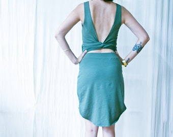SALE Open Back Wrap Dress, Fairy Dress, Womens Backless Dress,  A-symmetric Dress, Green Dress