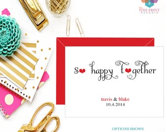 Wedding Thank You Note Card - Personalized Stationery - Couples Note card - Stationary Gift - Newlywed - Stationery Set - SO HAPPY TOGETHER
