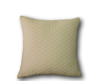 Tan Quilted Pillow Cover