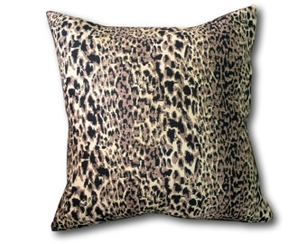 Leopard Black Pillow Cover with Invisible Zipper