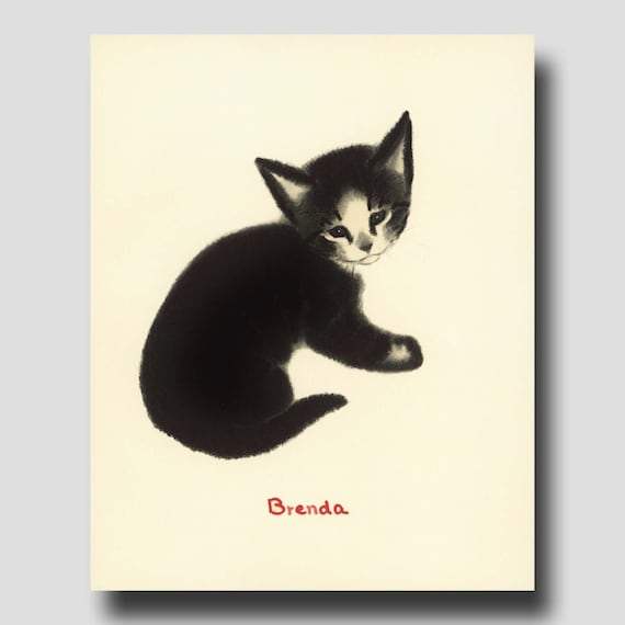 Cat Artwork Wall Art Cat Home Decor Brenda By