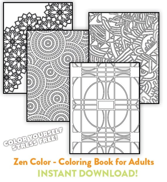 Zen Color Coloring Book For Adults Relieve Stress By OhKrop