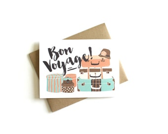 Bon Voyage Card - Traveling Card, Going Away Card, Vacation Card, Greeting Card, French Card