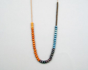 Colorful Wood Necklace, Long Wood Necklace
