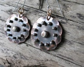 Hammered Copper Sheet Earrings, Sterling Silver Accent