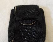Vintage Black Beaded Cigarette Case Wallet Purse Envelope Closure Lined in Satin Made in Japan