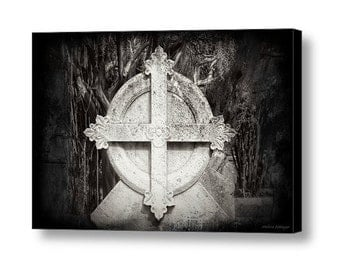 Old Gothic Cemetery Cross Fleur de Lis Headstone Gravesite Mortuary Art Black and White Fine Art Photography on Gallery Wrap Canvas