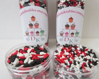 Mickey Mouse Shaped Sprinkle Kit ~ Jimmies ~ Red White Black ~ Cupcake ~ Cake Pop ~ Cake Decorations