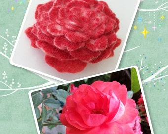 Brooch - RED ROSE - felted flower pin - wool, handmade, hand painted, lavish adornment for clothes, hair, dress, coat, hat, scarf, wool felt