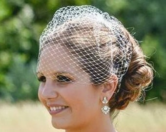 "Bridal Birdcage Veil, 9"" Short Blusher Veil, Wedding Veil, REX1001"