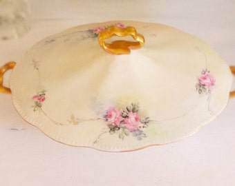 Antique Lidded Serving Bowl Shabby Cottage Roses, Pink and Pale Green, Homer Laughlin, The Angelus