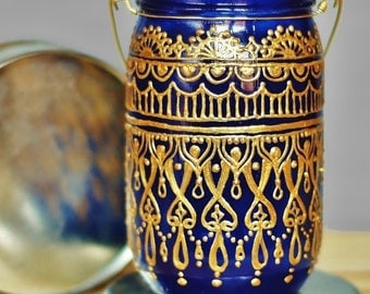 Henna Design Mason Jar Candle Lantern, Cobalt Blue Glass with Gold Detailing, Bohemian Lantern, Boho Candle Holder, Painted Mason Jar Decor