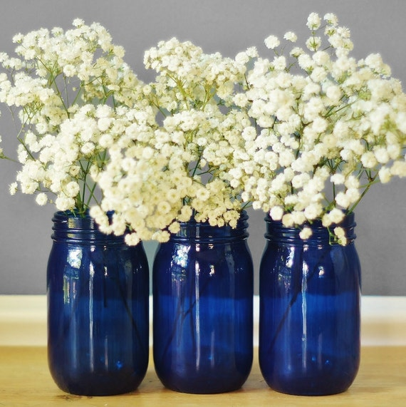 Three Cobalt Blue Mason Jar Vases