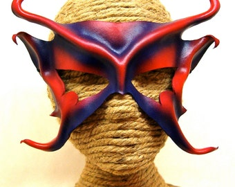 Red and Purple Leather Mask, Handcrafted Leather Fairy Mask, Genie Mask, Red Devil, Mischievous Faery Mask, Pixie Sprite (M138)