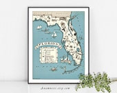 VINTAGE FLORIDA MAP - High Res Digital Image - large printable picture map for totes, pillows & prints - fun map art for your home