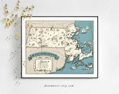 MASSACHUSETTS MAP - digital image download -printable vintage massachusetts picture map for framing, totes, pillows, tshirts etc. - fun art!