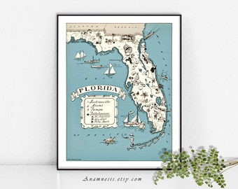 large vintage florida map