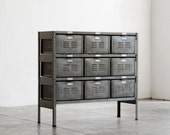 3 x 3 Reclaimed Locker Basket Unit Refinished In Monochrome Natural Steel