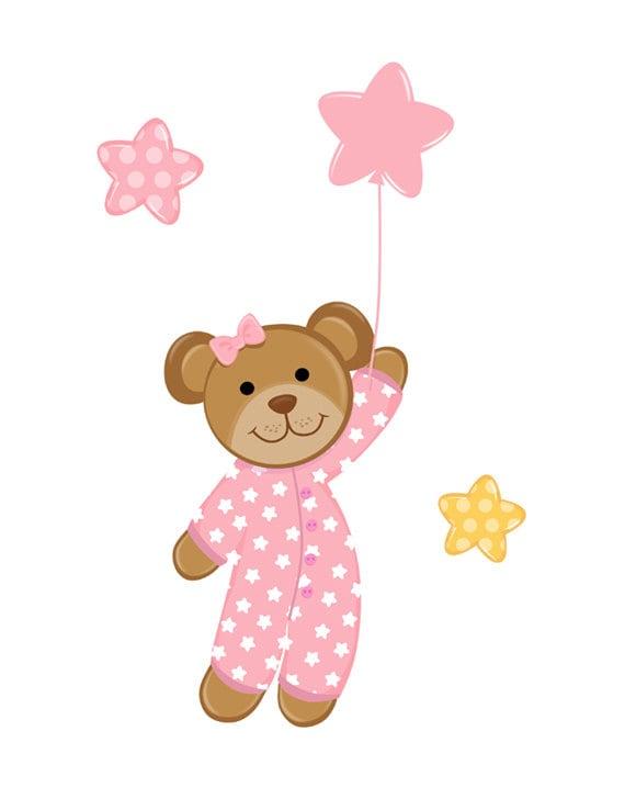 Pink Teddy Bear Balloon Decal Wall Mural Baby Girl Nursery