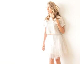 Mini length tulle Champagne skirt, Bridesmaids tulle skirt 3004