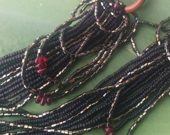 8ga, 9 inch long tassel ear weights, dangling ear weights:  iridescent beads with garnet, on sawa coils