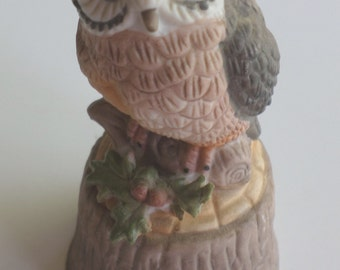 Porcelain Enesco Owl Bell
