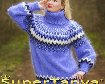 Made to order SuperSexy Icelandic hand knitted mohair sweater in blue by SuperTanya