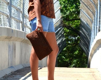 Brown Clutch, Vintage Handmade Clutch, Women's Purse, Ladies' Vintage Handbag